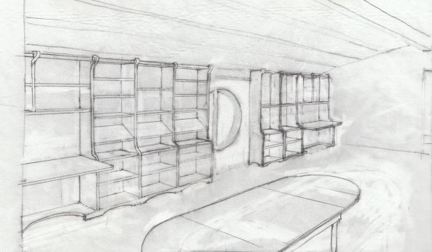 Bibliotek perspektiv teckning
